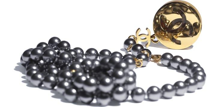 image 2 - Ceinture - Métal, perles de verre & résine - Doré, gris & vert