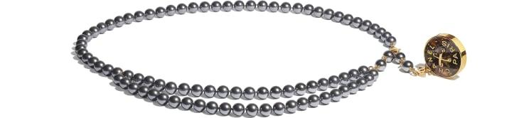 image 1 - Ceinture - Métal, perles de verre & résine - Doré, gris & vert