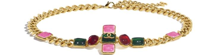 image 1 - Cinto - Metal & Resina - Dourado, Verde, Burgundy & Rosa