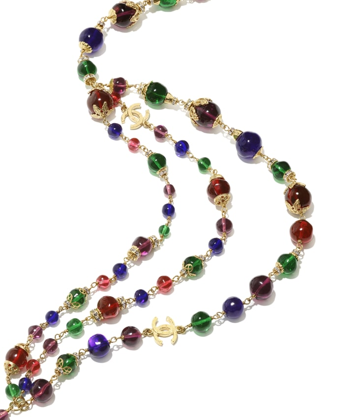 image 2 - Belt - Metal, Glass Pearls & Strass - Gold, Multicolor & Crystal