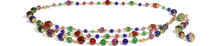 image 1 - Belt - Metal, Glass Pearls & Strass - Gold, Multicolor & Crystal