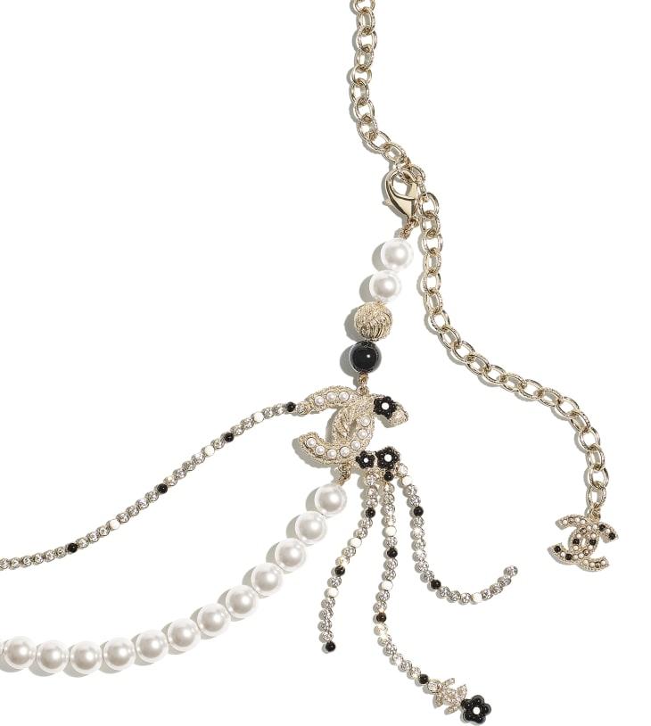 image 2 - Ceinture - Métal, perles de verre, strass & résine - Doré, blanc nacré, cristal & noir