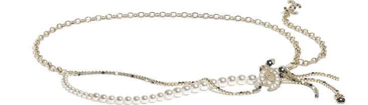 image 1 - Ceinture - Métal, perles de verre, strass & résine - Doré, blanc nacré, cristal & noir