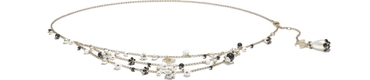 image 1 - Belt - Metal, Glass Pearls, Strass & Resin - Gold, Pearly White, Crystal, Black & White