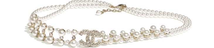 image 1 - Belt - Metal, Glass Pearls & Strass - Gold, Pearly White & Crystal