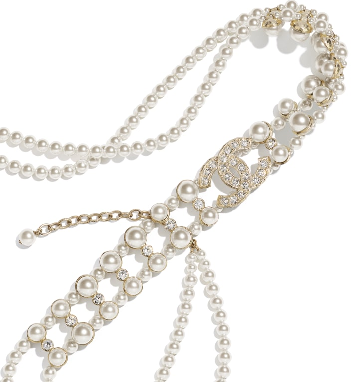 image 2 - Belt - Metal, Glass Pearls & Strass - Gold, Pearly White & Crystal