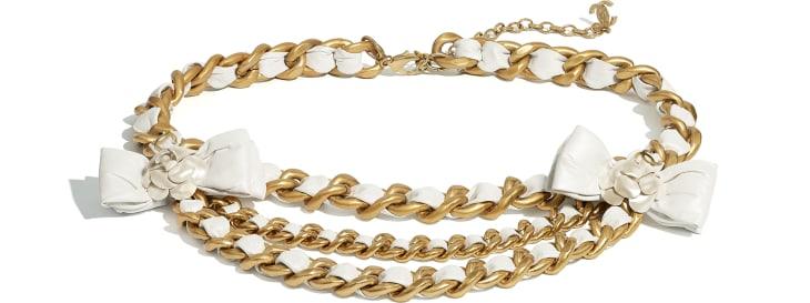 image 1 - Cinto - Metal & Couro De Novilho - Dourado & Branco Perolado