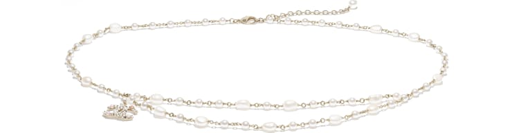 image 1 - Belt - Metal, Cultured Freshwater Pearls, Glass Pearls & Strass - Gold, Pearly White, Pink & Crystal