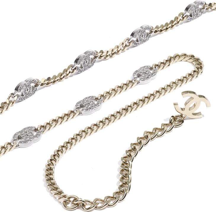 image 2 - Belt - Metal & Strass - Gold, Silver & Crystal