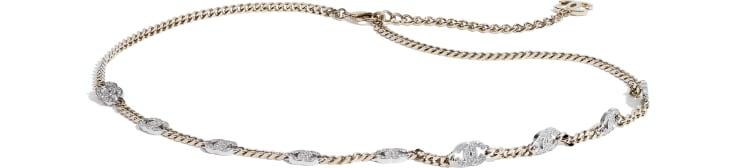 image 1 - Belt - Metal & Strass - Gold, Silver & Crystal