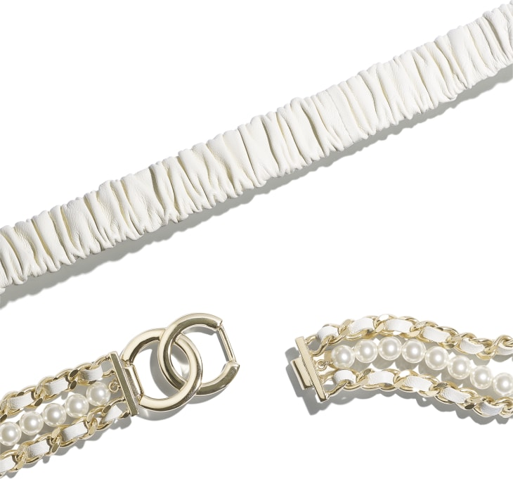 image 2 - Belt - Lambskin, Gold-Tone Metal, Glass Pearls & Strass - Ivory