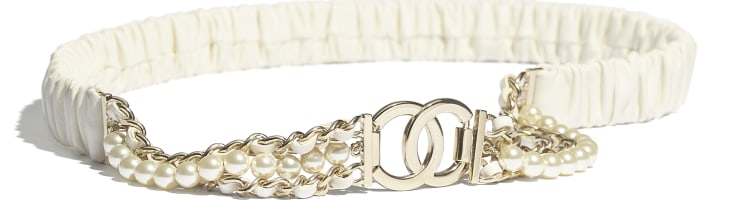 image 1 - Belt - Lambskin, Gold-Tone Metal, Glass Pearls & Strass - Ivory