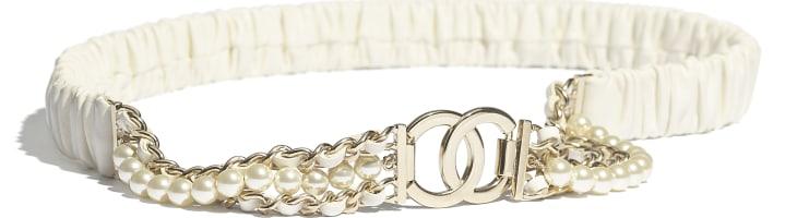 image 1 - Ceinture - Agneau, métal doré, perles de verre & strass - Ivoire