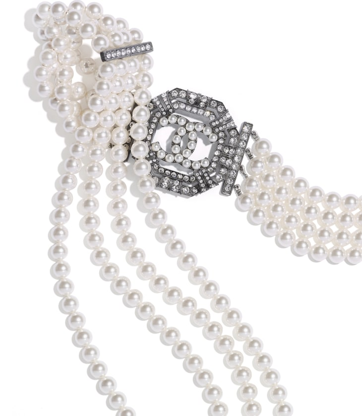 image 2 - Belt - Metal, Strass & Glass Pearls - Ruthenium, Crystal & Pearly White