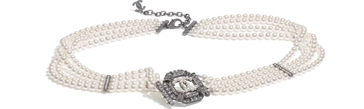 image 1 - Belt - Metal, Strass & Glass Pearls - Ruthenium, Crystal & Pearly White
