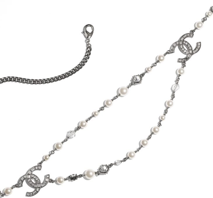 image 2 - Belt - Metal, Glass Pearls, Glass & Strass - Ruthenium, Pearly White & Crystal