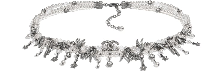image 1 - Belt - Metal, Glass Pearls, Glass & Strass - Ruthenium, Pearly White & Crystal