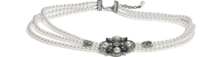 image 1 - Belt - Metal, Glass Pearls & Strass - Silver, Pearly White, Crystal & Blue