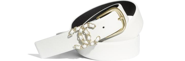 image 1 - Belt - Calfskin & Gold-Tone Metal - White