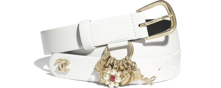 image 1 - Belt - Calfskin, Gold-Tone Metal & Glass Pearls - White