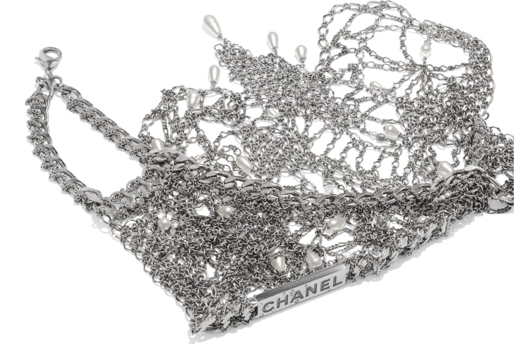 image 2 - Bib Necklace - Metal, Strass, Glass Pearls & Glass - Silver, Crystal & Pearly White