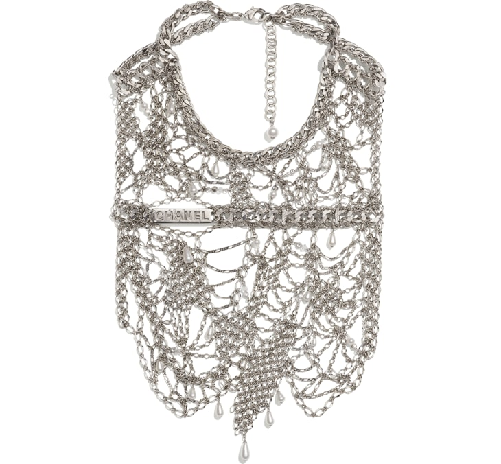 image 1 - Bib Necklace - Metal, Strass, Glass Pearls & Glass - Silver, Crystal & Pearly White