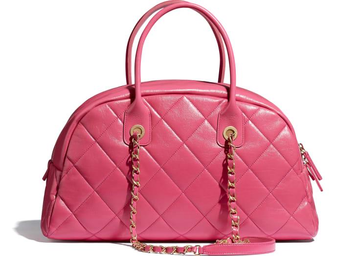 image 2 - Bowling Bag - Calfskin & Gold-Tone Metal - Pink