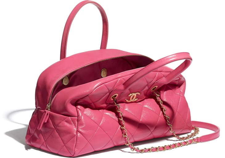 image 3 - Bowling Bag - Calfskin & Gold-Tone Metal - Pink
