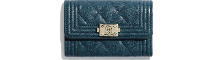 image 1 - BOY CHANEL Flap Card Holder - Grained Calfskin & Gold-Tone Metal - Blue