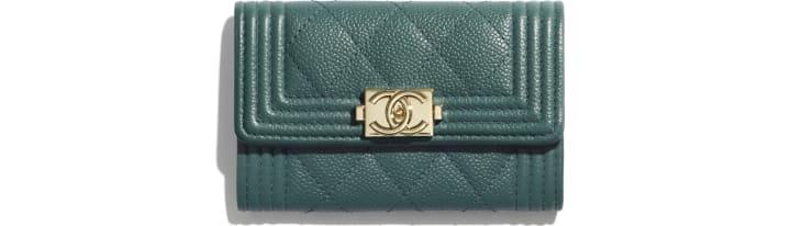image 1 - BOY CHANEL Flap Card Holder - Grained Calfskin & Gold-Tone Metal - Green