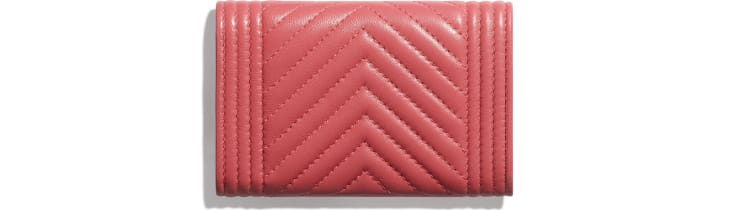 image 2 - BOY CHANEL Flap Card Holder - Lambskin & Gold-Tone Metal - Pink