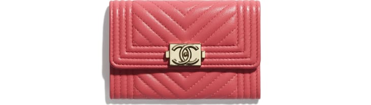 image 1 - BOY CHANEL Flap Card Holder - Lambskin & Gold-Tone Metal - Pink
