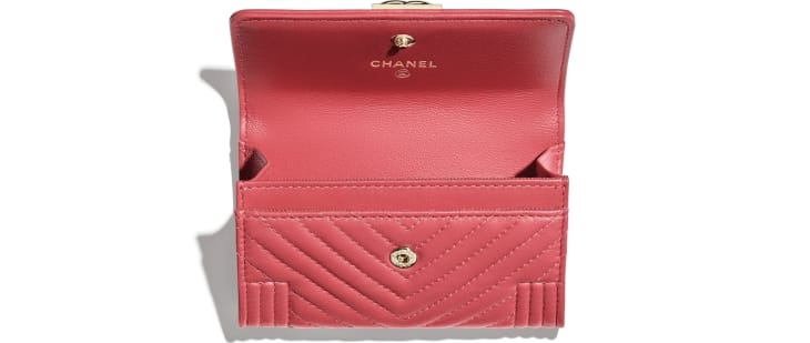 image 3 - BOY CHANEL Flap Card Holder - Lambskin & Gold-Tone Metal - Pink