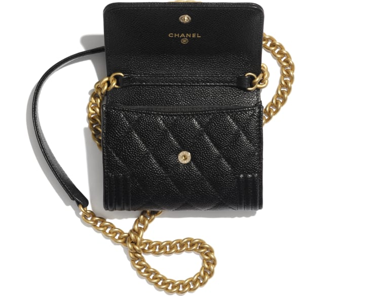 image 2 - BOY CHANEL Flap Coin Purse with Chain - Grained Calfskin & Gold-Tone Metal - Black