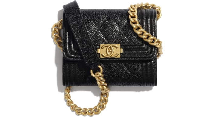 image 1 - BOY CHANEL Flap Coin Purse with Chain - Grained Calfskin & Gold-Tone Metal - Black