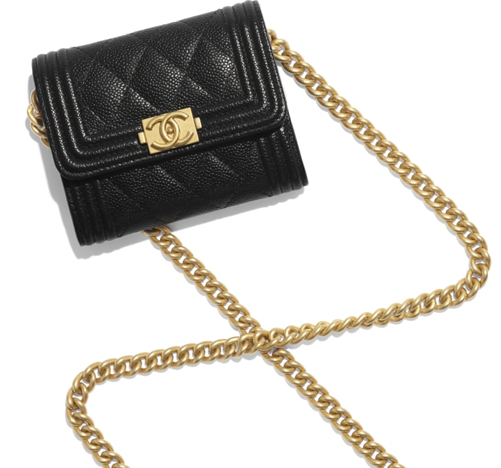 image 4 - BOY CHANEL Flap Coin Purse with Chain - Grained Calfskin & Gold-Tone Metal - Black
