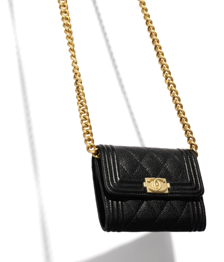 image 3 - BOY CHANEL Flap Coin Purse with Chain - Grained Calfskin & Gold-Tone Metal - Black