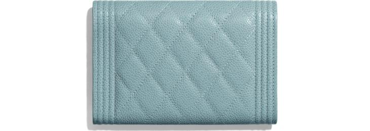 image 2 - BOY CHANEL Flap Wallet - Grained Shiny Calfskin & Gold-Tone Metal - Blue