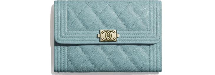 image 1 - BOY CHANEL Flap Wallet - Grained Shiny Calfskin & Gold-Tone Metal - Blue