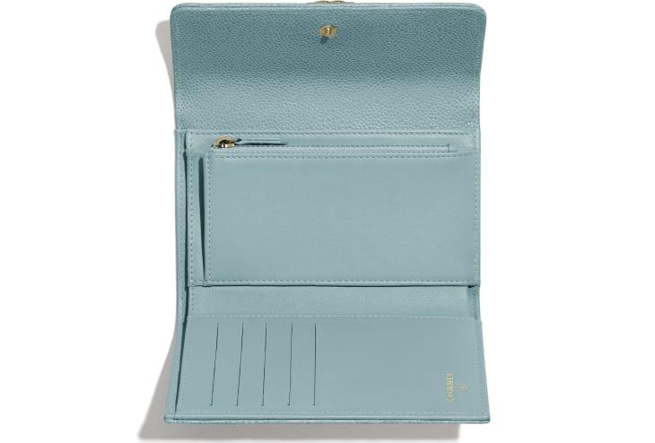 image 3 - BOY CHANEL Flap Wallet - Grained Shiny Calfskin & Gold-Tone Metal - Blue