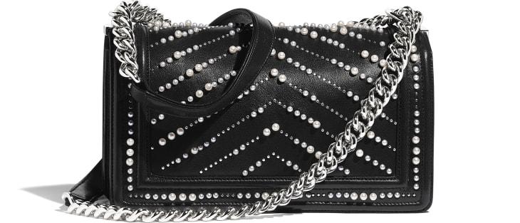 image 2 - BOY CHANEL Handbag - Calfskin, Imitation Pearls & Silver-Tone Metal - Black