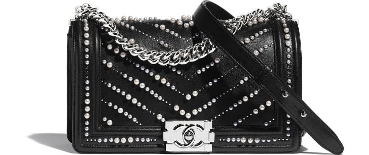 image 1 - BOY CHANEL Handbag - Calfskin, Imitation Pearls & Silver-Tone Metal - Black