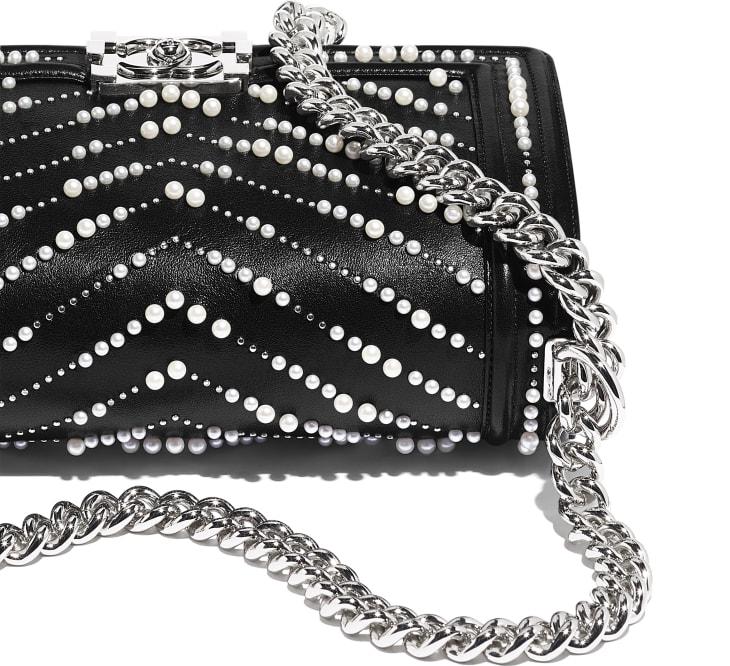 image 4 - BOY CHANEL Handbag - Calfskin, Imitation Pearls & Silver-Tone Metal - Black