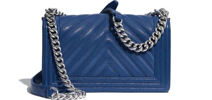 image 2 - BOY CHANEL Handbag - Grained Calfskin & Silver-Tone Metal - Dark Blue