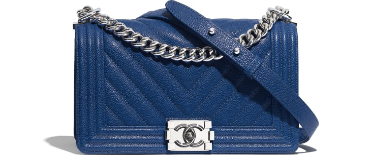 image 1 - BOY CHANEL Handbag - Grained Calfskin & Silver-Tone Metal - Dark Blue
