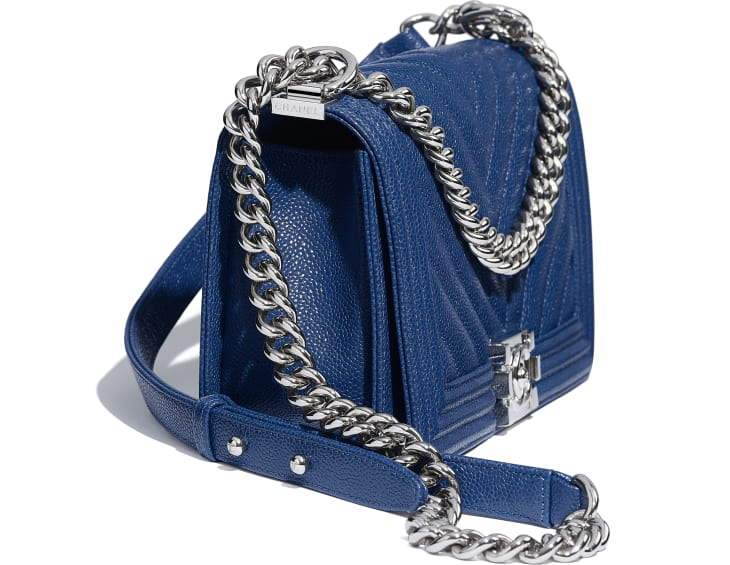 image 4 - BOY CHANEL Handbag - Grained Calfskin & Silver-Tone Metal - Dark Blue