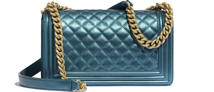 image 2 - BOY CHANEL Handbag - Metallic Calfskin & Gold-Tone Metal - Navy Blue & White