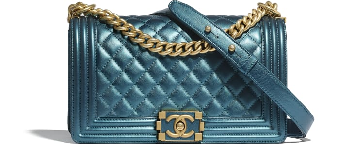 image 1 - BOY CHANEL Handbag - Metallic Calfskin & Gold-Tone Metal - Navy Blue & White