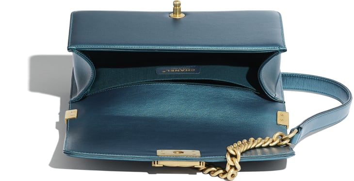 image 3 - BOY CHANEL Handbag - Metallic Calfskin & Gold-Tone Metal - Navy Blue & White