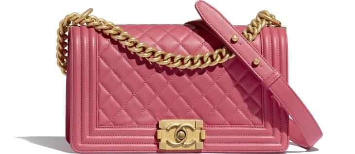 image 1 - BOY CHANEL Handbag - Calfskin & Gold-Tone Metal - Pink